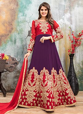 Purple N Red Georgette Abaya Style Anarkali Suit