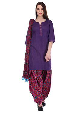 Purple N Reddish Pink Pure Cotton Patiala Suit