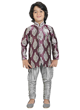 Purple N Silver Brocade Kids Sherwani