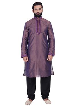 Purple N Violet Art Dupion Silk Kurta Pyjama