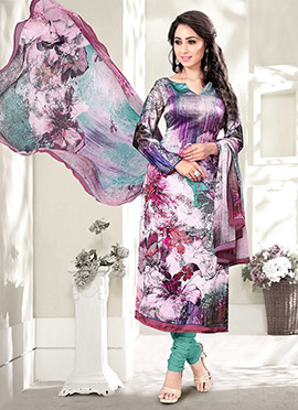 Purple N White Satin Blend Straight Suit