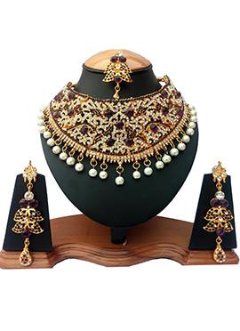 Purple N White Zircon Stone Choker Necklace Set
