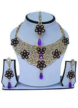 Purple N White Zircon Stone Necklace Set