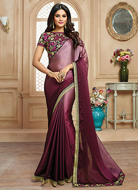 Purple N Wine Satin Border Saree