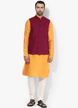 Purple N Yellow Benarasi Cotton Silk Bandi Set