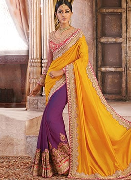 Purple N Yellow Half N Half Saree