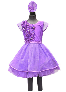 Fayon Purple Net Kids Dress