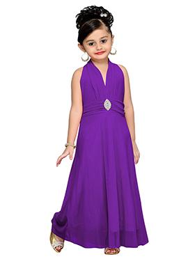Purple Net Kids Gown