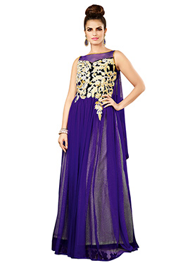 Purple Net N Velvet Anarkali Gown