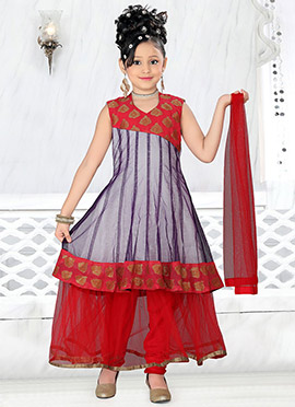 Purple Net Teens Anarkali Suit