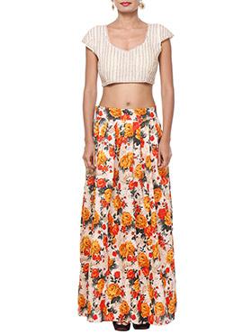 Purple Oyster Beige N Orange Skirt Set