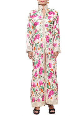 Light Beige Bhagalpuri Silk Tunic