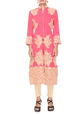 Peachish Pink Georgette Long Kurti