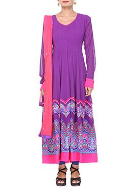 Purple Oyster Purple Georgette Kalidar Suit