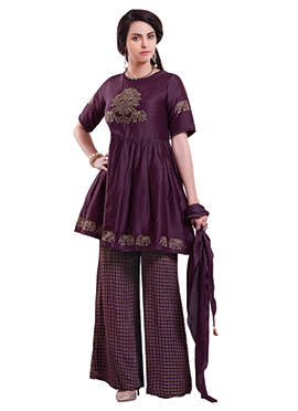 Wine Peplum Style Palazzo Suit