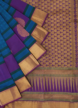 Purple Pothys Kancheepuram Pure Silk Saree