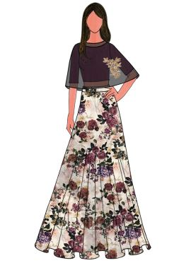 Purple Potion Cotton Embroidered Cape Skirt Set