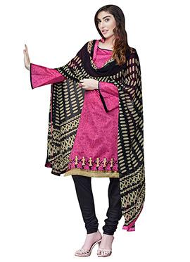 Purple Printed Chanderi Churidar Suit