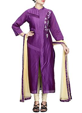 Purple Pure Chiffon Churidar Suit