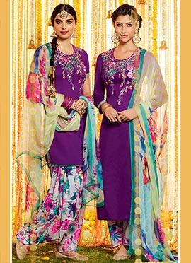 Purple Pure Cotton Satin Patiala Suit