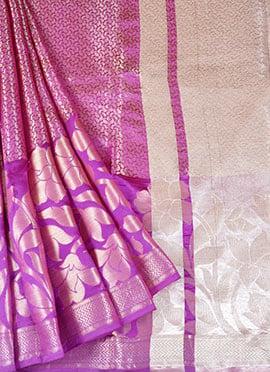 Purple Pure Handloom Banarasi Silk Saree