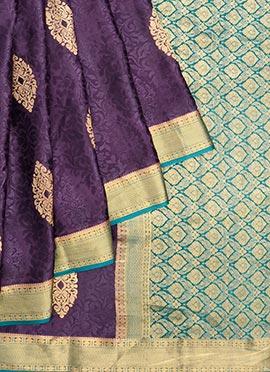 Purple Pure Handloom Mysore Silk Saree