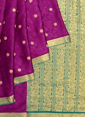 Purple Pure Mysore Silk Saree