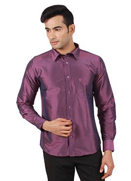Purple Pure Raw Silk Shirt