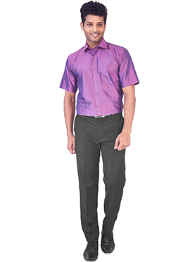 Purple Pure Silk Classic Shirt