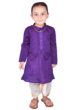Purple Pure Silk Kids Dhoti Kurta