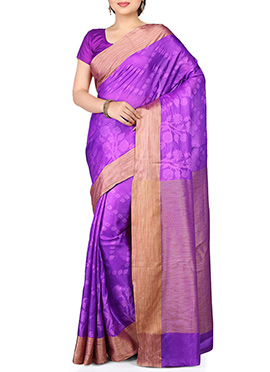 Purple Pure Silk Resham Weaved Saree