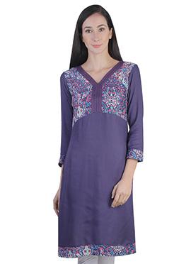Purple Rayon Printed Kurti