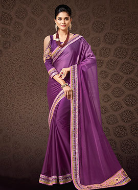 Purple Satin Silk Border Saree