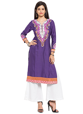 Purple Silk Cotton Knee Length Kurti