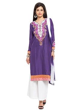 Purple Silk Cotton Palazzo Suit