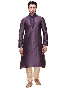Purple Silk Kurta Pyjama
