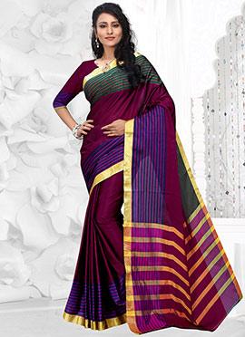 Purple Striped Art Silk Cotton Border Saree