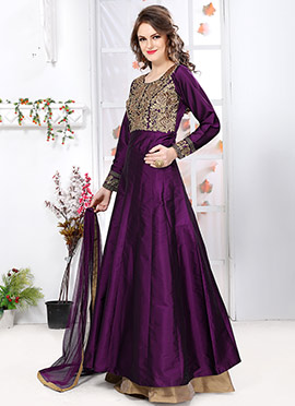 Purple Tafeta Silk Anarkali Suit