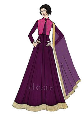 Purple Taffeta Full Sleeve Abaya Set