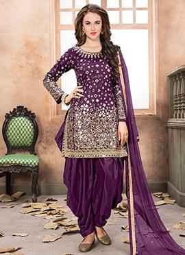 Purple Taffeta Salwar Suit