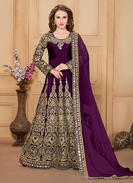 Purple Taffeta Silk Anarkali Suit