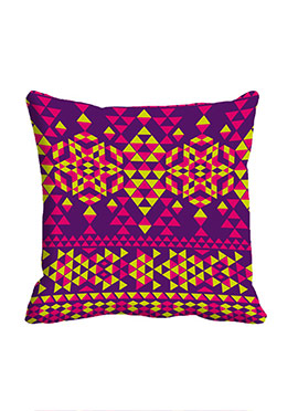 Purple Triangle Pattern Polyester Cushion Cover
