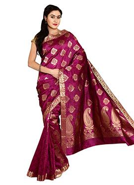 Purple Tussar Jacquard Art Silk Saree