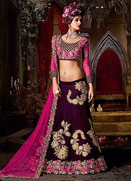 Purple Velvet A Line Lehenga