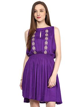 Purple Viscose Shakumbhari Midi Dress