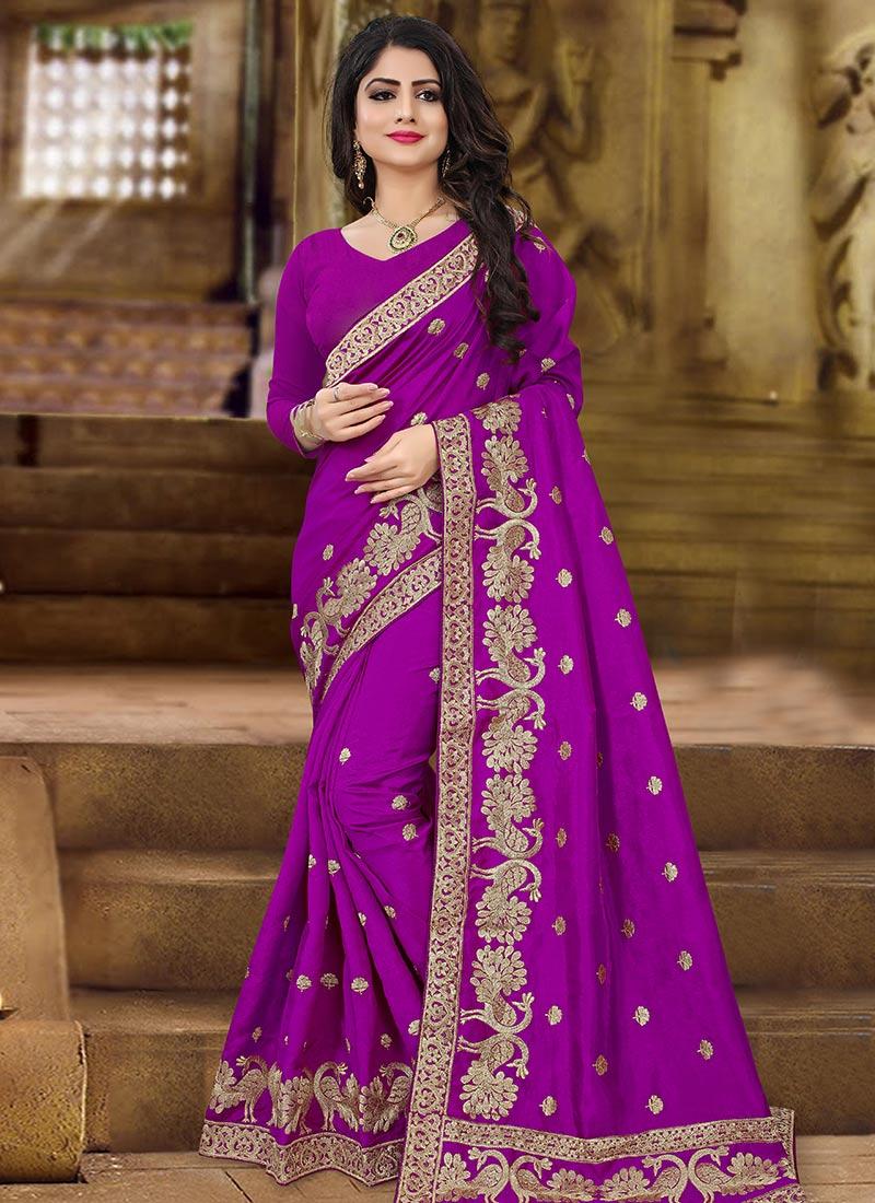 a110807432 Buy Purple Zari Embroidered Saree, Zari , Embroidered, sari Online ...