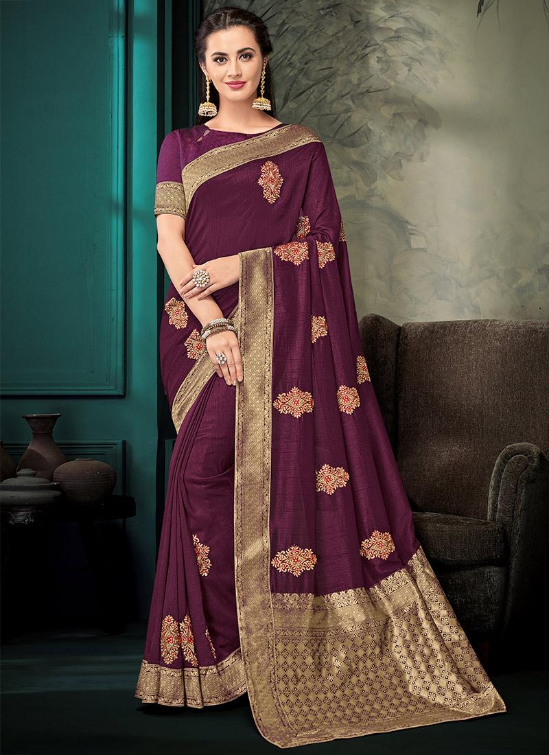 c5edb4f9b7 Buy Purple Embroidered Saree, Zari , Embroidered, sari Online ...