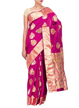Purplish Magenta Pure Silk Saree