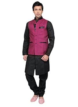 Purplish Wine Linen Nehru Jacket