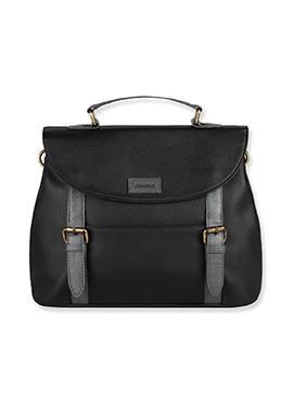 Purseus Black N Grey Leather Satchels